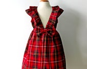 Holiday Christmas Toddler Girl Dress, Red Black Plaid