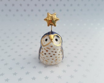 Blue Sparkle Fairy Owl Sculpture with Gold Star