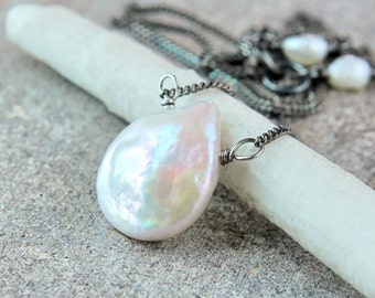 Pearl Drop Necklace Oxidized Silver White Freshwater Pearl Jewelry Sterling Silver June Birthstone Necklace Birthday Gift