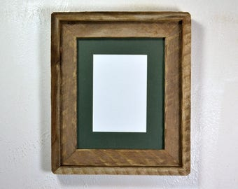8x10 earth friendly wood picture frame with 5x7 or 8x6 mat 20 mat colors available free US shipping