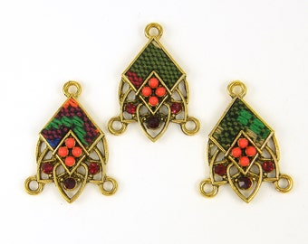Brown Gold Earrings Findings Orange Green Kente Tribal Fabric Textile Chandelier Connector Link Jewelry Component |