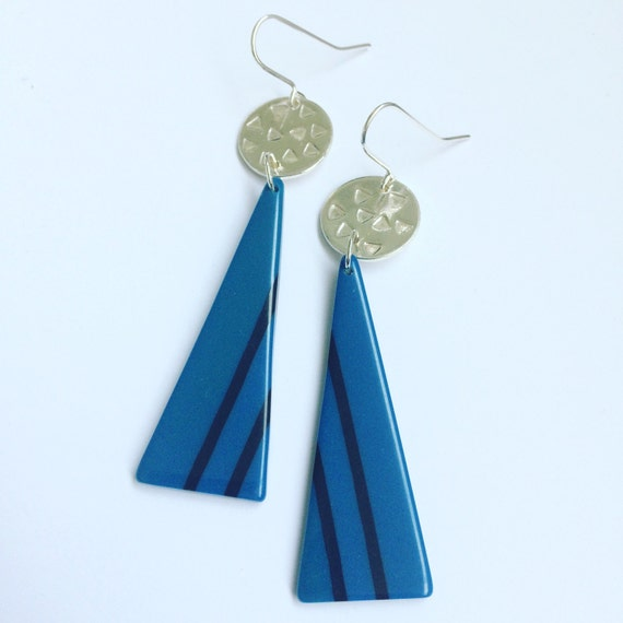 Royal Blue Acrylic and Sterling Silver Earrings - Eighties - Vintage - Retro - Upcycled - Recycled - Hipster