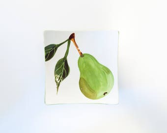 Small Plate Ceramic Plate Pear Small Square Minimalist Plate Appetizer Plate Serving Plate Teacher Gift Hostess Gift Bridal Shower Gift  P
