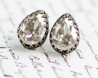 Grey Diamond Crystal Stud Earrings - FREE SHIPPING