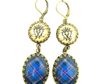 Scottish Tartan Jewelry - Ancient Romance Series - Cooper Clan Earrings w/Luckenbooth Charms on Victorian Script Background