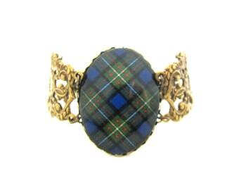 Scottish Tartan Jewelry - Ancient Romance Series - Ferguson Variant Clan Tartan Ornate Filigree Half Chain Bracelet