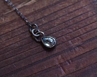 Blue Topaz Necklace - Topaz Pear Bezel Pendant - Dainty Minimalist Y Necklace - Aquamarine Necklace - Oxidized Sterling Silver Necklace