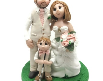 Custom cake topper, Family wedding cake topper, Bride and Groom with Child cake topper, Mr and Mrs cake topper, personalized cake topper