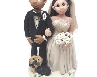 Wedding Cake Topper - CUSTOM cake topper, FUNNY cake topper, Wedding figurines, wedding topper, dog cake topper ,Nurse wedding cake topper