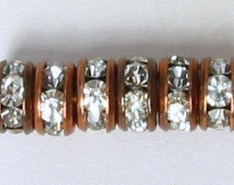 Rhinestone Rondelles, Copper Crystal 4 mm, 6 pc. C16