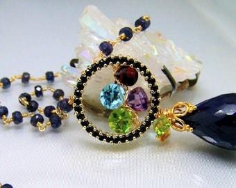 Midnight Magic Vermeil Sterling Sapphire Briolette Multi Gemstone Necklace
