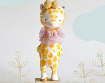 Giraffe Figurine Doll animal, ABC animals by Paola Zakimi - kids giraffe, miniature sculpture