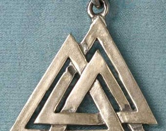 Valknot Valknut Walknot Sterling Silver Pendant Charm