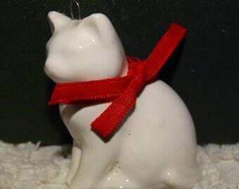Porcelain White Kitten Ornament, Miniature Ornament, Red Ribbon, Christmas Kitten, Made by Midwest, Japan, White Cat, Kitten, Feline