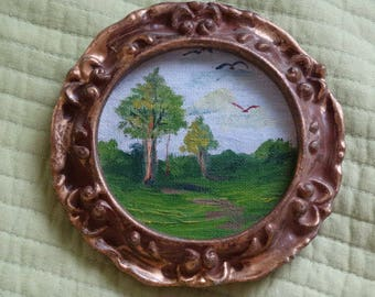 Vintage Still Life Oil Painting rolling hills, Trees, Blue Skies, Birds, Country Folk Art Round Miniature Painting