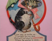 Large Vintage Valentine's Day Card Kitty with Honeycomb Umbrella Trot Down to Lovetown