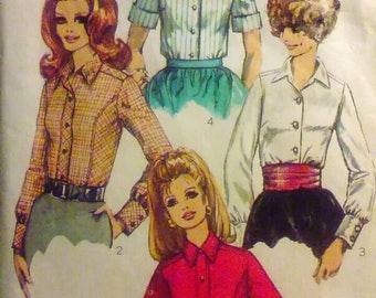 Vintage 60s Sewing Pattern Simplicity 7727 Women's Long or Short Sleeved Button Up Shirt