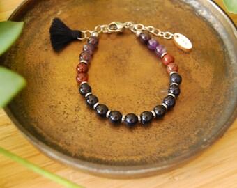The Warrior bracelet / blue sandstone / amethyst / poppy jasper / hematite / mala bracelet / minimalist bracelet /tassel bracelet