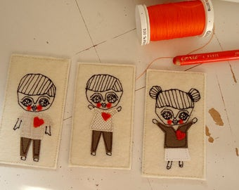 CUSTOM ORDER - magnet- textile - stitch art