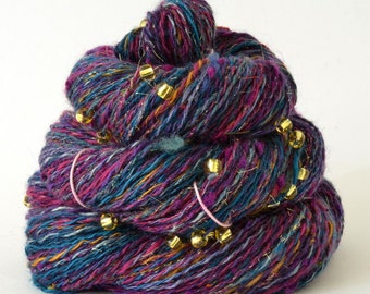 Handspun Yarn -  Spindle Spun Merino Bamboo Silk  Yarn - Art Yarn - 2.3oz, 220yd, 18WPI
