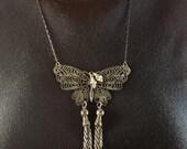 Filigree Butterfly Pendant Vintage Antiqued Silver Tone - Reimagined Vintage Butterfly Pendant