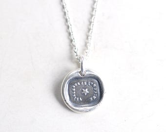 star wax seal necklace pendant … watch over my loved one - French motto - gift of love - fine silver antique wax seal jewelry