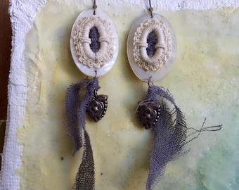Mother of Pearl Buckle Bespoke Drop Earrings | Vintage Boho Dangle Earrings | OOAK MOP & Sterling Silver