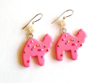 Circus Animal Cookies Earrings Frosted Animal Cookie Earring Animal Crackers Kawaii Pink Rainbow Sprinkles Cookie Pin Up Jewelry Mini Food