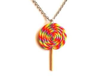 Lollipop Necklace Rainbow Lollipop Necklace Carnival Lollipop Charm Pin up retro jwelry - Miniature Food Jewelry