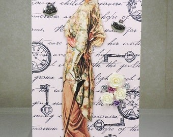 Handmade Greeting Card, Victorian woman with flowers and umbrella