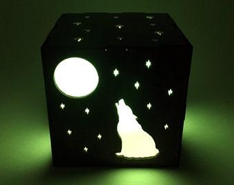Wolf Light Box, Wood Lantern, Wolf Lantern, Candle Box, Shadow Box, Wolf Decor, LED Lantern, Wolf Lamp, Wolf Nightlight, LED Wolf, Gift