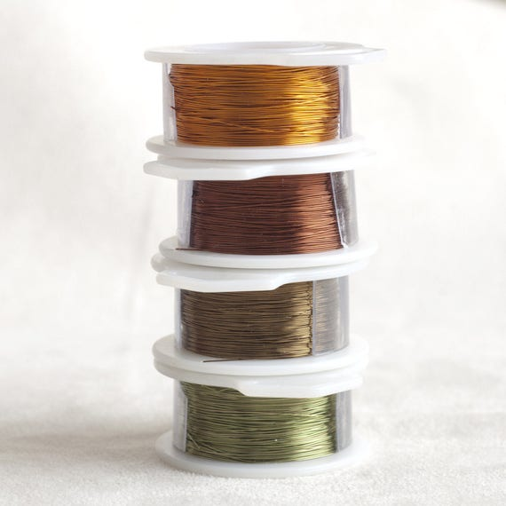 Copper wire in Autumn fall colors 28 Gauge - 4 spools - brown, Army green, antique bronze, dark copper