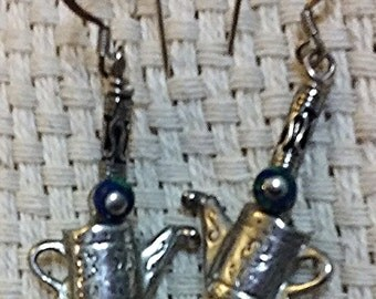Lovely Silver Toned Watering Can Gardening Earrings on Sterling Silver Wires