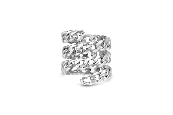 Triple Spiral Ring | Twist Ring | Chain Spiral Ring | Swirl Chain Ring | Chain Coil Ring | Wrap Ring
