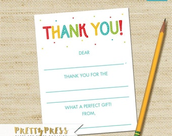 Rainbow Fill In Thank You Cards, Instant Download, Rainbow Birthday Cards, DIY PRINTABLE, Children's Fill-In Thank You Cards