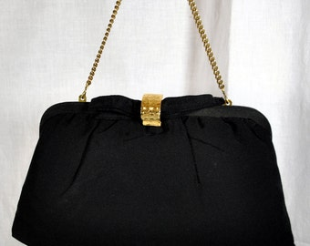 Vintage Ladies Evening Purse by CMS -Disappearing Chain Handle - Gold Clasp - Silk Exterior and Flowered Silk Lining