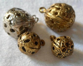 Lot of 4 VINTAGE Pierced Metal Round Ball Bead BUTTONS
