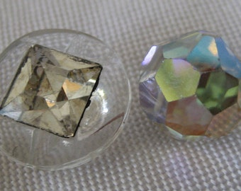 Lot of 2 VINTAGE Crystal Glass BUTTONS