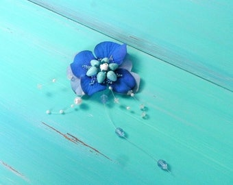 blue flower hair clip, turquoise bead & fabric flower barrette, mermaid accessory