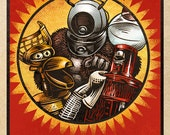 "MST3K Matchbox Art- 5"" x 7"" matted signed print"