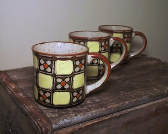 Vintage Mugs Daisy Checkerboard Bohemian Set of 3