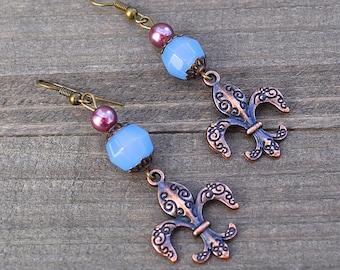 Fleur De Lis Earrings - Fleur De Lis Jewelry - Fleur de lis - New Orleans Fleur De Lis Earrings Chalcedony Gemstone French NOLA