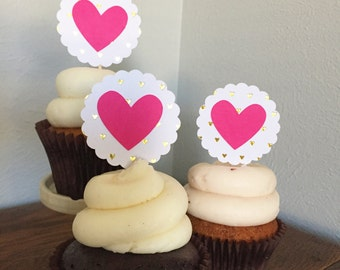 Valentine's Day Cupcake Toppers - set of 12
