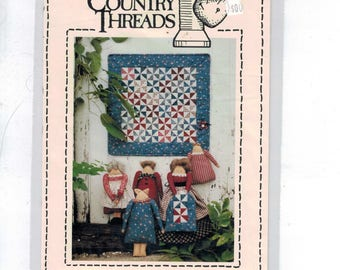Craft Sewing Pattern Country Threads Ladies Aid #170 6 10 Inch Dolls and Miniature Pinwheel Patchwork Quilt 1990s 90s UNCUT