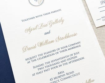 Monogram Wedding Invitation - Modern Wedding Invite - Classic Wedding Invite - Thermography - Sample