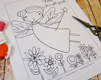 I live in Fairy land Stitchery PDF Pattern - embroidery sheet easy simple fairies
