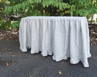 Floor Length Ruffled Linen Tablecloth Custom Sizes Wedding Decorations  Table Decor Ruffled Tablecloth Linen Table Cover