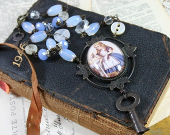Alice - Vintage Upcycled Assemblage Necklace with Mixed Blue Beads, Buttons, Skeleton Key and Cameo