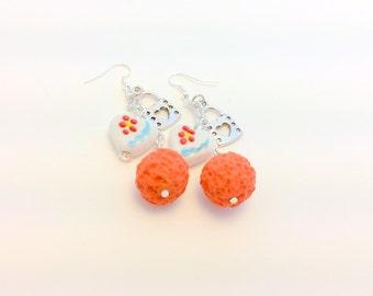 Valentine Earrings Heart Lock and Handmade Crunchberry Polymer Clay Earrings
