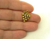Grape Charms Set of Ten Gold Color 19x14mm Cluster of Grapes Charms